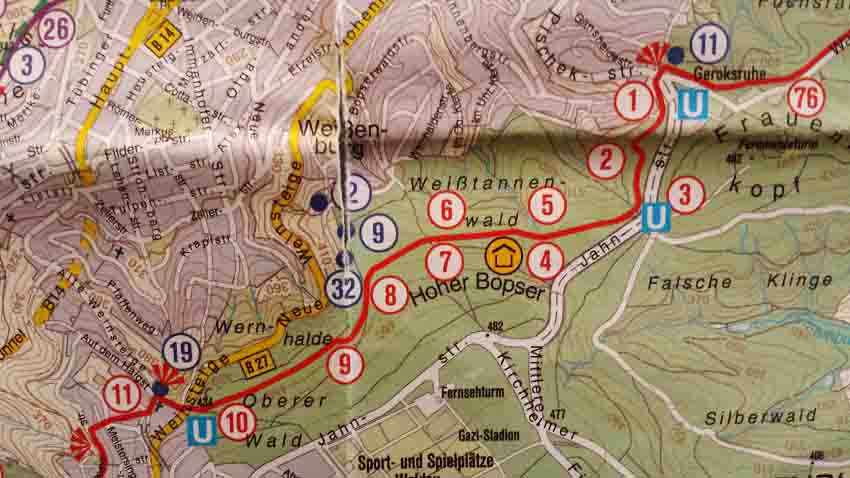 Von Nummer 1 bis Nummer 10: 2,9 Kilometer durch Waldgebiet mit einigen schönen Ausblicken auf Stuttgart