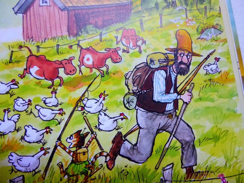 Petersson und Findus versuchen die Hühner abzuschütteln...