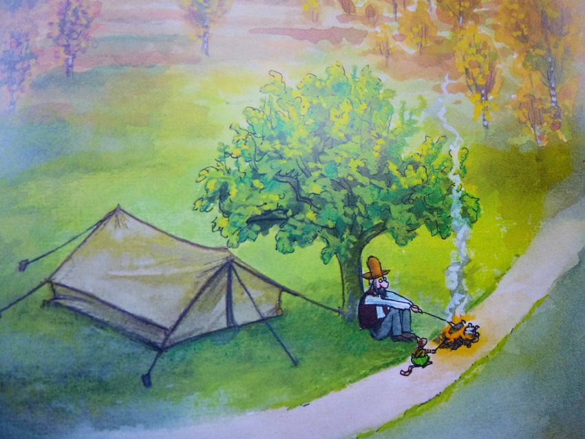 """Einer der wehmütigen Moment der Kinderbuchreihe """"Petersson und Findus"""". Der alte Mann denkt daran, was er alles NICHT erlebt hat in seiner Jugend..."""
