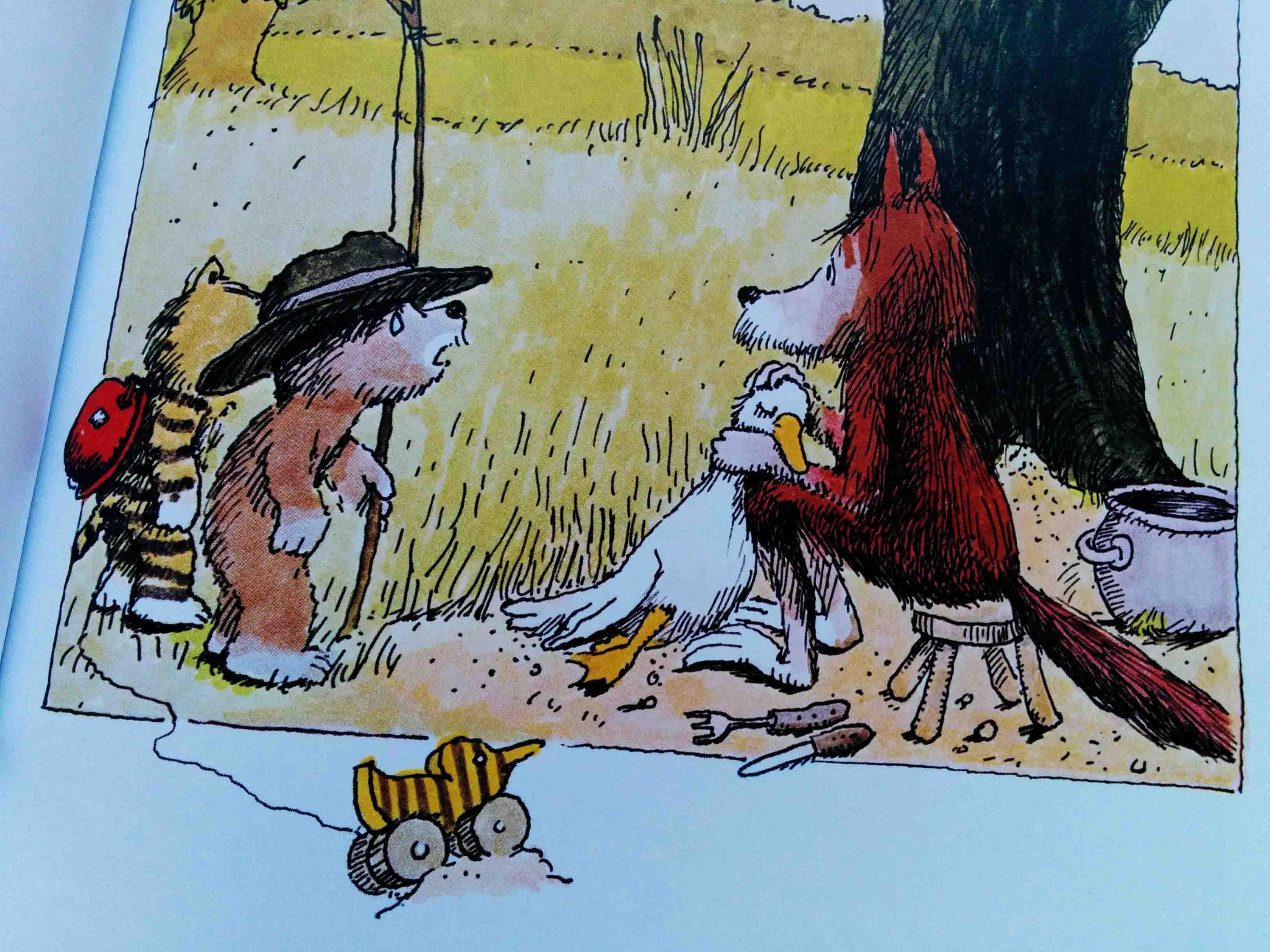 """Der Fuchs, der mit einer Ganz gerade """"seinen Geburtstag feiern will"""" und dem kleinen Tiger und dem kleinen Bär die erstbeste Antwort gibt. Schwarzer Humor und eines meiner Lieblingsbilder."""